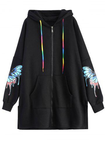 Outfits Colourful Butterfly Print Hooded Coat