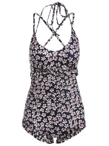 Discount Ruffles Floral String One-Piece Swimwear