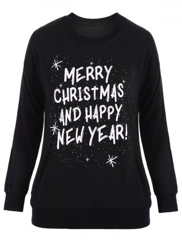 Fancy Plus Size Letter Print Christmas Sweatshirt