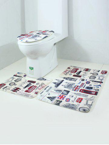 Fashion 3PCS London Life Bath Rug and Mats Sets - COLORMIX  Mobile