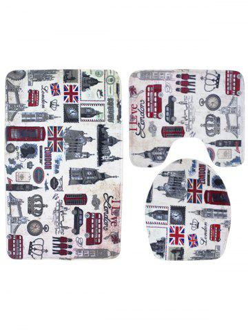 Shops 3PCS London Life Bath Rug and Mats Sets - COLORMIX  Mobile