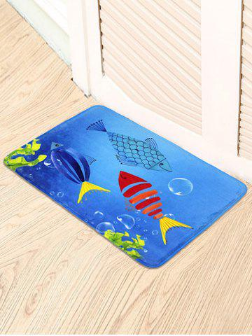 Latest Cartoon Fish Soft Absorbent Antislip Bathroom Carpet BLUE