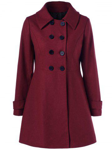 Sale Wool Double Breasted Skirted Overcoat