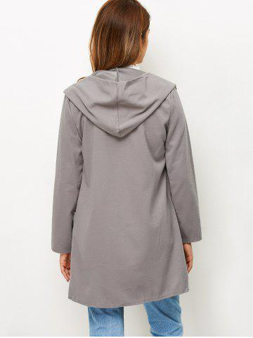 Cheap Open Front Cotton Hooded Coat - XL GRAY Mobile