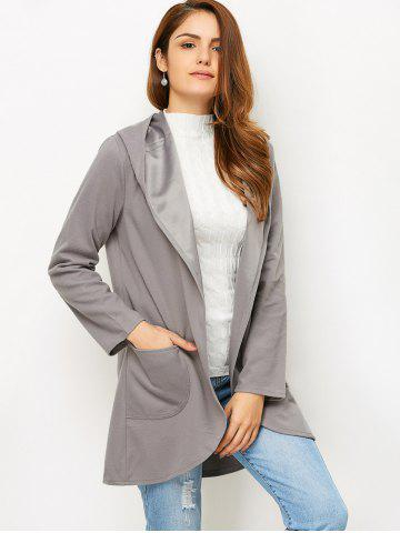 Fashion Open Front Cotton Hooded Coat - L GRAY Mobile