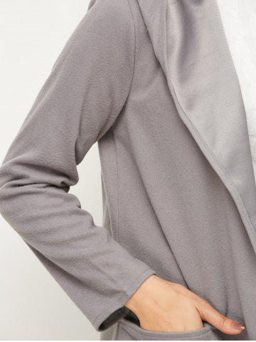 Online Open Front Cotton Hooded Coat - L GRAY Mobile