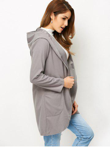 Cheap Open Front Cotton Hooded Coat - L GRAY Mobile