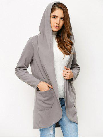 Hot Open Front Cotton Hooded Coat - L GRAY Mobile