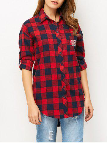 Hot High-Low Letter Checked Shirt RED L