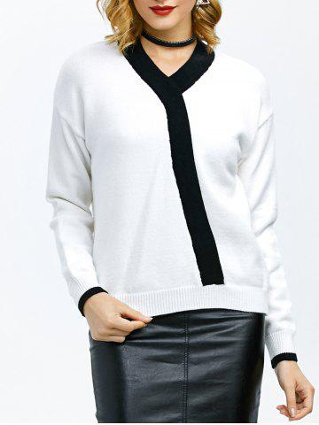 Outfit V Neck Contrast Insert Sweater
