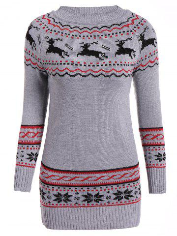 Discount Christmas Reindeer Pattern Tunic Raglan Sleeve Sweater