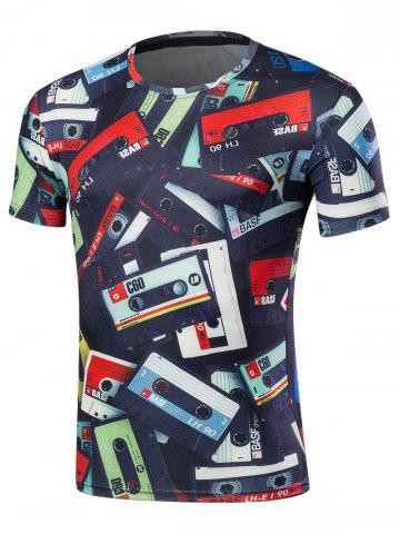Outfit Crew Neck Short Sleeve Cassette Print Tee COLORMIX 2XL