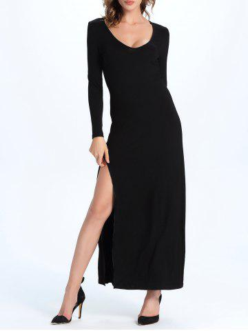 Buy Maxi A Line Long Sleeve Slit Evening Dress BLACK 2XL