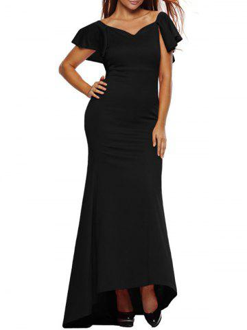 Outfit Short Sleeve Maxi Flounce Mermaid Sweetheart Party Prom Wedding Dress BLACK L