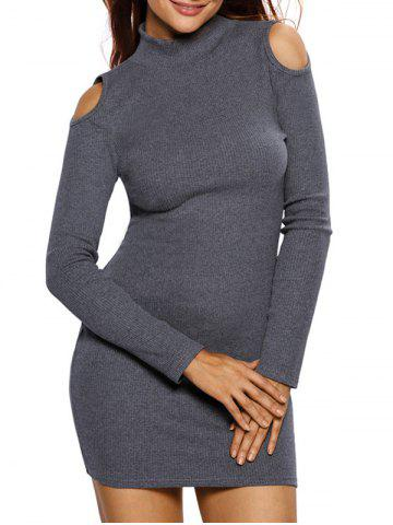 Trendy High Neck Cold Shoulder Ribbed Fitted Jumper Dress