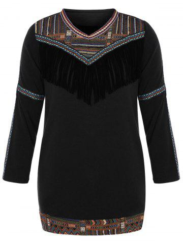 Outfits Plus Size Tribal Tassel Fleece Lined Dress
