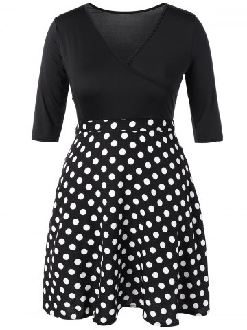 Buy Plus Size Vintage Polka Dot Insert Dress