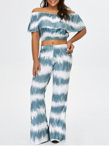 Off The Shoulder Crop Top and Flare Bottom Palazzo Pants - Light Green - 3xl