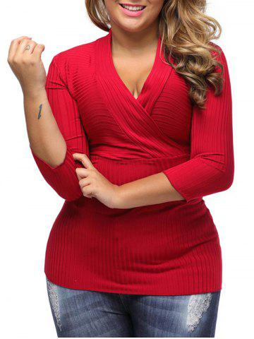Online V Neck Plus Size Surplice Ribbed Sweater - 3XL RED Mobile
