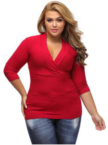 Trendy V Neck Plus Size Surplice Ribbed Sweater - 3XL RED Mobile