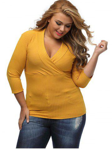 Sale V Neck Plus Size Surplice Ribbed Sweater - XL YELLOW Mobile