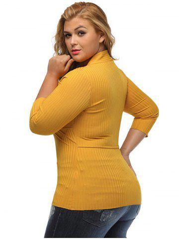 Fancy V Neck Plus Size Surplice Ribbed Sweater - XL YELLOW Mobile