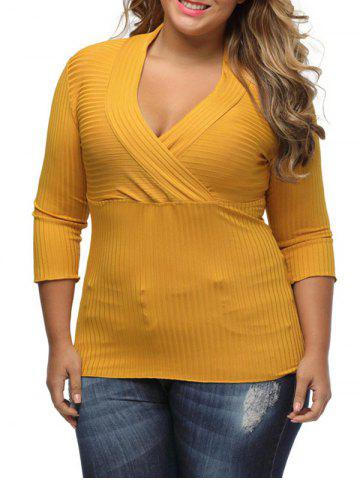 V Neck Plus Size Surplice Ribbed Sweater - Yellow - Xl