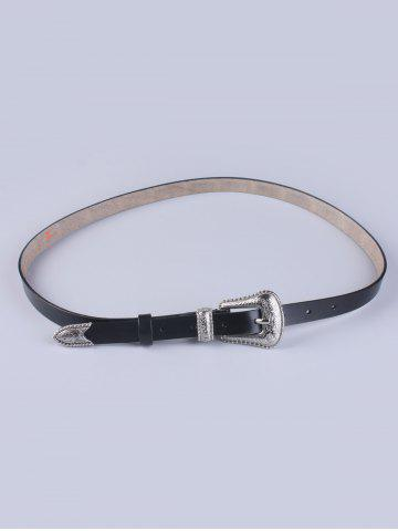 Outfits Pin Buckle Skinny Faux Leather Belt BLACK