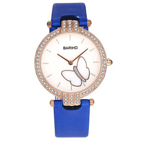 Chic Rhinestone Butterfly Artificial Leather Watch