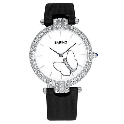 Fancy Rhinestone Butterfly Faux Leather Watch