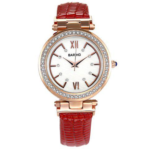 Roman Numerals Dial Rhinestone Watch - Red