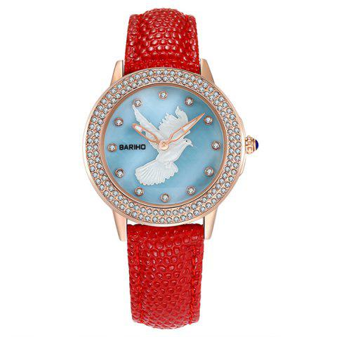 Chic Rhinestone Peace Dove PU Leather Watch RED