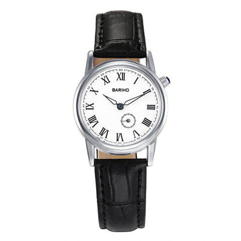 Cheap PU Leather Vintage Roman Numerals Watch BLACK