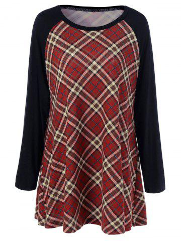 Chic Plus Size Plaid Raglan Sleeves T-Shirt - XL CHECKED Mobile