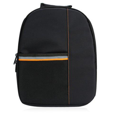 Discount Pockets Striped Nylon Backpack - ORANGE  Mobile