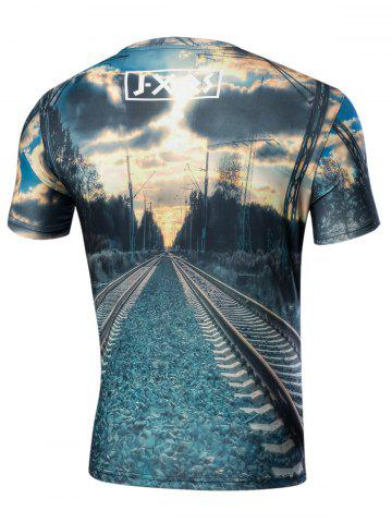 Discount Crew Neck Short Sleeve Rail Graphic Tee - S BLUE GREEN Mobile