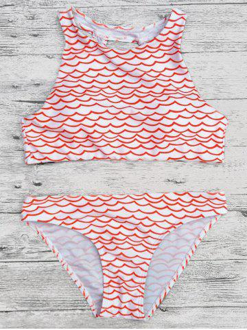 Outfit Wavy Print Cut Out Cropped Bikini Set - S RED Mobile