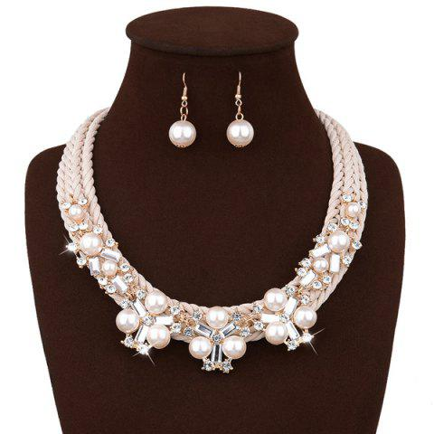 Faux Pearl Rhinestone Braided Statement Necklace Set - White