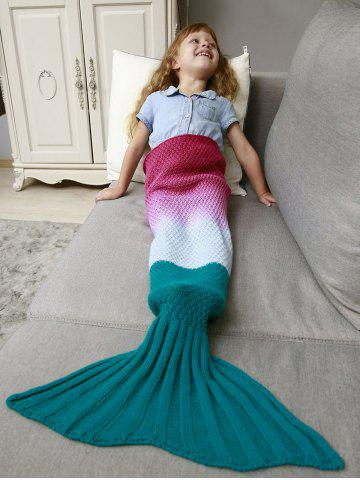Ombre Crochet Knit Chunky Mermaid Blanket Throw For Kids - Deep Pink - 137*70cm