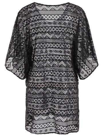 Trendy Openwork See Thru Beach Tunic Cover Up - ONE SIZE BLACK Mobile