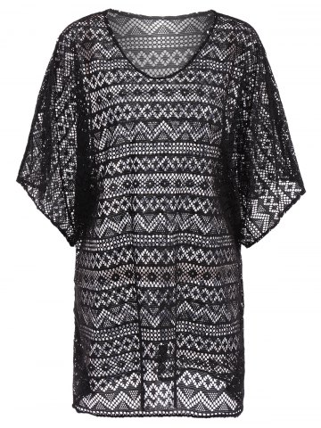 Fancy Openwork See Thru Beach Tunic Cover Up - ONE SIZE BLACK Mobile