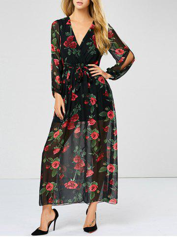 Floral See Through Split Sleeve Maxi Dress