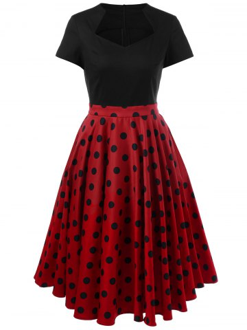 Discount Swing Polka Dot Two Tone Dress RED WITH BLACK L