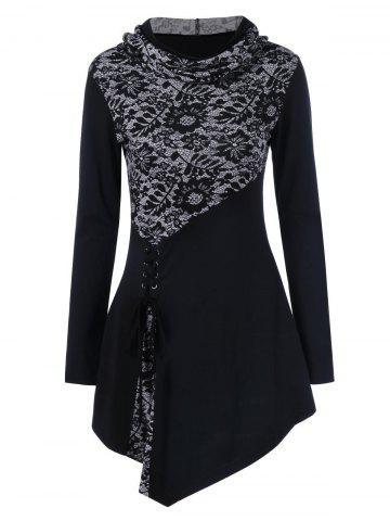 Hot Lace-Up Asymmetrical Long Sleeve Hooded T-Shirt BLACK M
