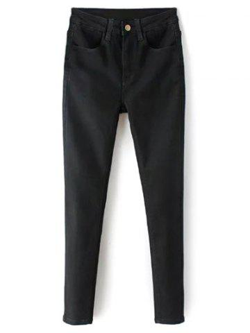 Shops Zip Fly High Waisted Black Skinny Jeans
