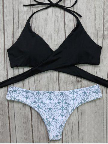 Fancy Halter Wrap Bikini Top and Baroque Print Bottoms WHITE AND BLACK M