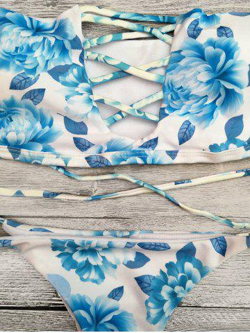 New Off The Shoulder Floral Cut Out Bikini Set - M BLUE Mobile