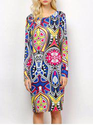 Long Sleeve Tribal Totem Print Dress