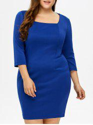 Plus Size Square Collar Fitted Dress -