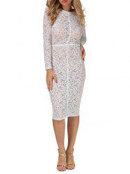 Sheer Lace Floral Bodycon Knee Length Dress - WHITE